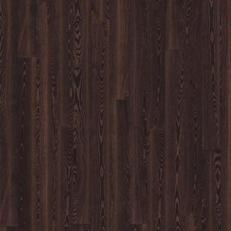 Паркетная доска Ясень Черная медь 1-пол., Сити, глян. Лак,мик. фаск,черный, медь в порах 2420x187x15